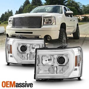 For 07 13 Gmc Sierra 1500 2500hd 3500hd Clear Drl Led Tube Projector Headlights