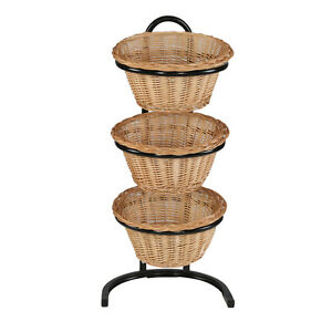 Wicker Basket Rack Willow Floor Display Bakery Stands 3 tier Store Fixture New