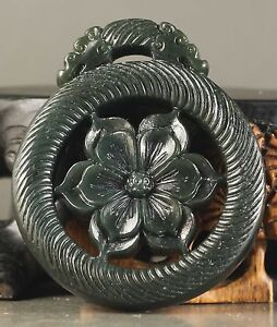 Old Chinese Natural Hetian Jade Hand Carved Flower Pendant