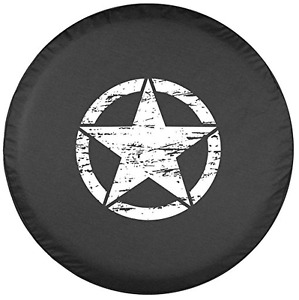 32 Oscar Mike Star Spare Tire Cover black Denim Vinyl Jeep Wrangler