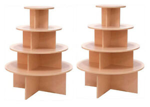 4 Tier Display Table Round Boutique Clothing Store Maple Knockdown Lot Of 2 New