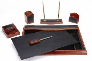 Majestic Goods Desk Set Six Piece Brown Oak Wood And Pu w232