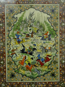 Monumental Framed Persian Miniature Painting Of Horsemen Hunting 28 X31