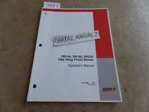 Case Rr144 Rr180 Rr204 Flex Wing Finish Mower Operator s Manual 87757964
