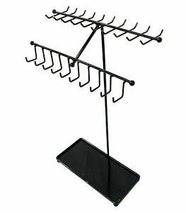 Black Metal Necklace bracelets Display Stand Jewelry Organizer Rack 30 Hooks