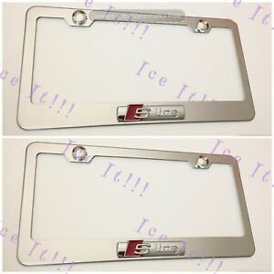 2x 3d Audi S Line Emblem Stainless Steel License Plate Frame Rust Free