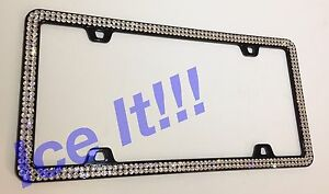 Made W Swarovski Crystal License Plate Frame 2 Rows Clear On Black Metal Frame