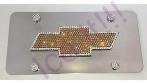 Chevy Bow Tie Mirror Vanity Front License Plate Frame Steel W Swarovski Crystal