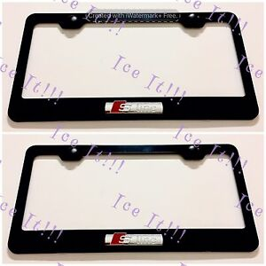 2x Audi 3d S Line Black Stainless Steel License Plate Frame Rust Free W Caps