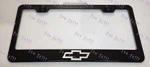 Chevrolet Chevy Bow Tie Stainless Steel Black License Plate Frame Caps
