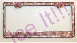 New Swarovski Crystal Chrome License Plate Frame 7 Rows W Screw Caps Pink