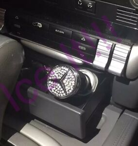 Mercedes benz Logo Usb Phone Charger Black W Swarovski Crystals Car Lighter Usa