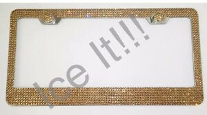 Swarovski Crystals Golden License Plate Frame 7 Rows Include Matching Cap