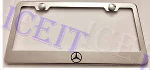 Mercedes Benz Logo Stainless Steel License Plate Frame Rust Free W Bolt Caps