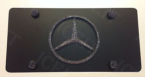 Mercedes Black Vanity Front License Plate Heavy Duty Made With Swarovski Crystal