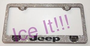 For Jeep With Logos Stainless Steel License Plate Frame W Swarovski Crystals