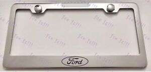 Ford Logo Stainless Steel License Plate Frame Rust Free W Bolt Caps