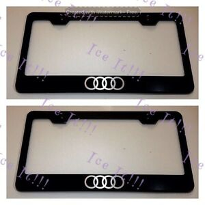 2x Audi Logo Stainless Steel Black License Plate Frame Rust Free W Caps