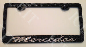 Mercedes benz Black Stainless License Plate Frame Made With Swarovski Crystals