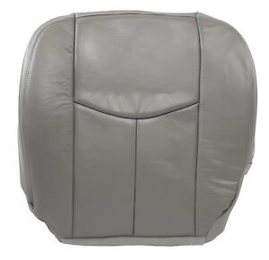 03 04 05 06 07 Chevy Silverado Driver Bottom Leather Seat Cover Pewter Gray