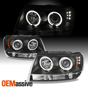 Fits 99 04 Jeep Grand Cherokee Black Bezel Dual Halo Projector Led Headlights