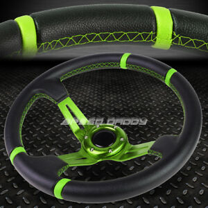 3 5 Deep Dish Green Spoke stripes Lightweight 6 bolt Racing Steering Wheel