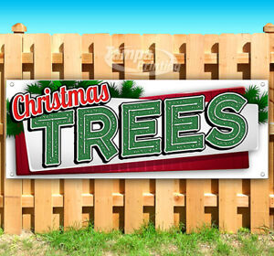 Christmas Trees Advertising Vinyl Banner Flag Sign Many Sizes Holiday Wreath Usa