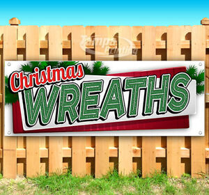 Christmas Wreaths Advertising Vinyl Banner Flag Sign Many Sizes Holiday Usa