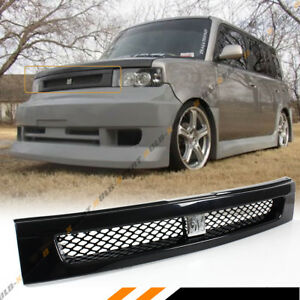 For 04 07 Scion Xb Glossy Blk Jdm Front Hood Mesh Grill Chrome Bb Logo Emblem