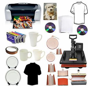 New 8in1heat Press epson Printer ink sublimation T shirts mugs hats plates Combo