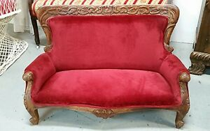Vintage Antique Hand Carved Victorian Toddler Childs Sofa Furniture