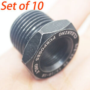 Set Of 10 High Hardness 5 8 24 To 13 16 16 Unf Oil Filter Threaded Adapter Black