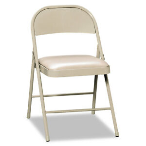 Hon Steel Folding Chairs With Padded Seat Light Beige 4 carton Fc02lbg