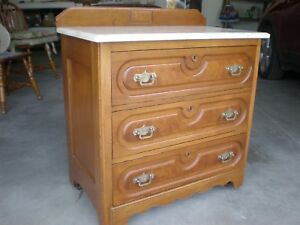 Antique Chest Dry Sink With 3 Locking Drawers And Marble Top