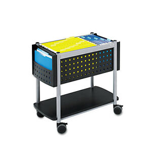 Safco Scoot Open Top Mobile File Cart 28w X 14 3 4d X 26h Black With Silver