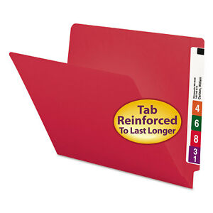 Smead Colored File Folders Straight Cut Reinforced End Tab Letter Red 100 box