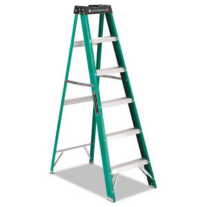 Louisville 592 Folding Fiberglass Step Ladder 6 Ft 5 step Green black Fs4006