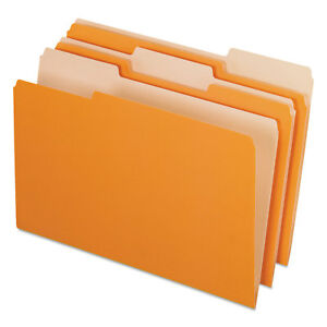 Pendaflex Interior File Folders 1 3 Cut Top Tab Legal Orange 100 box 435013ora