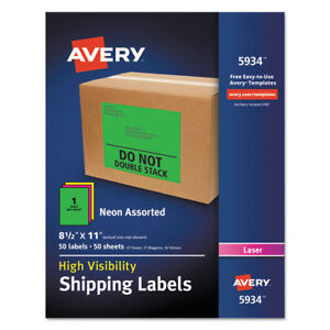 Avery Neon Shipping Label Laser 8 1 2 X 11 Neon Assorted 50 box 5934