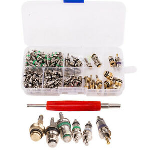135pcs Car Air Conditioner A C Shrader Valve Core R134 Kits Ac Hvac Remover Tool