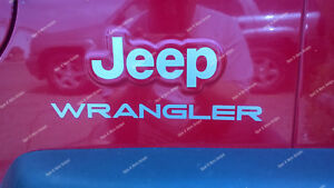 Set Of Jeep Wrangler Replacement Vinyl Stickers Decals Fits Tj Xj Jk Many Colors