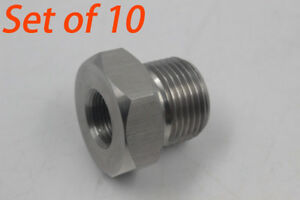 Set Of 10 High Hardness 1 2 28 To 3 4 16 Unf Oil Filter Threaded Adapter Gray