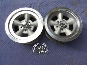 Vintage Pair15x6 American Torque Thrust Style Polished Lip Chevy 5 On 4 3 4