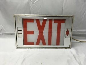 Vtg Industrial Store Factory Directional Exit Sign Light Fixture Glass 674 17e
