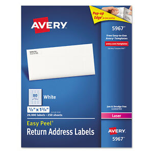 Avery White Address Labels For Laser Printers 1 2 X 1 3 4 20000 box 5967