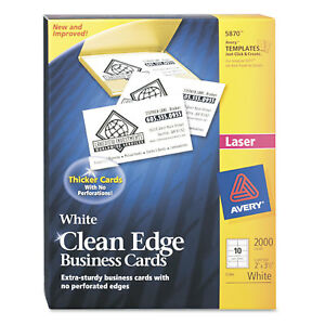 Avery Clean Edge Business Card Value Pack Laser 2 X 3 1 2 White 2000 box 5870