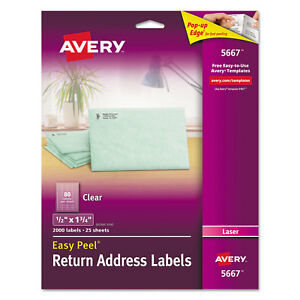 Avery Clear Easy Peel Return Address Labels Laser 1 2 X 1 3 4 2000 box 5667