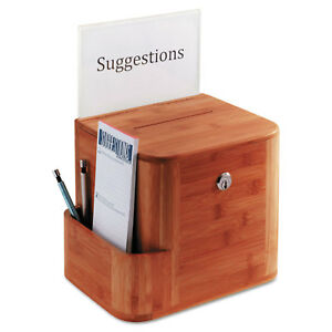 Safco Bamboo Suggestion Box 10 X 8 X 14 Cherry 4237cy