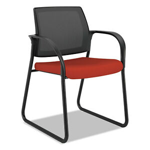 Hon Ignition Series Mesh Back Guest Chair With Sled Base Poppy Fabric Upholstery