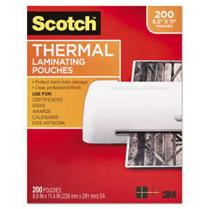 Scotch Letter Size Thermal Laminating Pouches 3 Mil 11 2 5 X 8 9 10 200 Per Pack